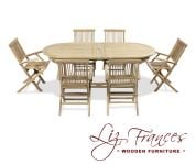Grade A Teak 6 Seat Oval Extendable 'Clermont' Set by Liz Frances