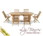 Grade A Teak 6 Seat Oval Extendable 'Lakeland' Set by Liz Frances™