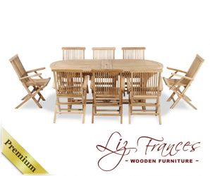 Grade A Teak 8 Seat Oval Extendable 'Lakeland' Set by Liz Frances™