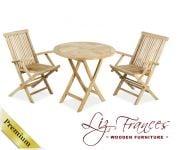 Grade A Teak 2 Seat Round Foldable 'Lakeland' Bistro Set by Liz Frances™