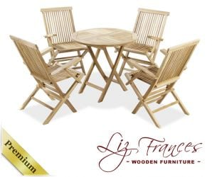 Grade A Teak 4 Seat Round Foldable 'Lakeland' Set by Liz Frances™
