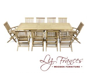 Grade A Teak 10 Seat Rectangular Extendable 'Clermont' Set by Liz Frances