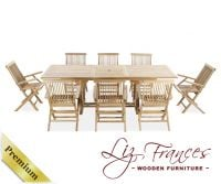 Grade A Teak 8 Seat Rectangular Extendable 'Lakeland' Set by Liz Frances™