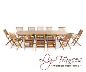 Teak 12 Seat Oval Extendable 'Clermont' Set by Liz Frances