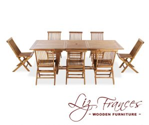 Teak 8 Seat Rectangular Extendable 'Pembroke' Set by Liz Frances