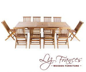 Teak 10 Seat Rectangular Extendable 'Pembroke' Set by Liz Frances
