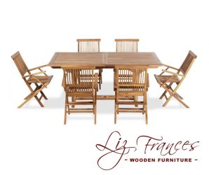 Teak 6 Seat Rectangular Extendable 'Clermont' Set by Liz Frances