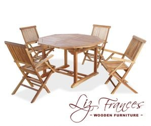 Teak 4 Seat Octagonal Extendable 'Clermont' Set by Liz Frances
