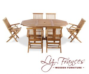 Teak 6 Seat Octagonal Extendable 'Lakeland' Set by Liz Frances