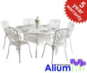 "Alium™ ""Cleveland"" Cast Aluminium 6 Seater Round Garden Furniture Set"