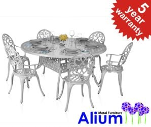 "Alium™ ""Garfield"" Cast Aluminium 6 Seater Round Garden Furniture Set"
