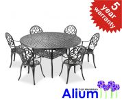 "Alium™ ""Garfield"" Cast Aluminium 6 Seater Round Garden Furniture Set in Black"