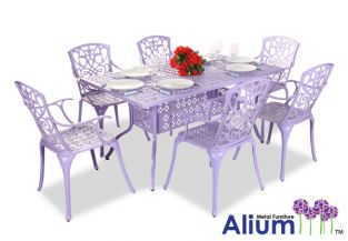 "Alium™ ""Cleveland"" Cast Aluminium 6 Seater Rectangular Garden Furniture in Lilac"