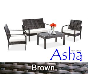 "4 Seater Rattan Weave Sofa Set - Asha™ ""Villa"" (Mixed Brown)"