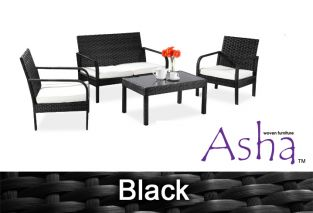 "4 Seater Rattan Weave Sofa Set - Asha™ ""Villa"" (Black)"