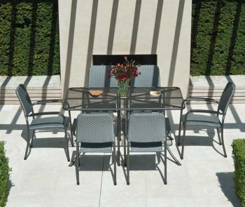 Portofino Rectangular Table 1.45 x 0.9m & Portofino Woven 6 Chairs & Grey Parasol & Base