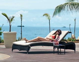 Alexander Rose Ocean Fiji Double Rattan Sunbed and 2 Side Tables