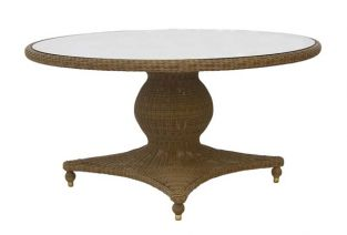 Alexander Rose Colonial Rattan Pedestal Table with Glass Tabletop