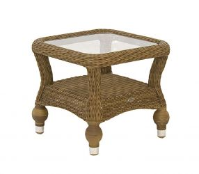 Alexander Rose Colonial Rattan Side Table with Glass Tabletop