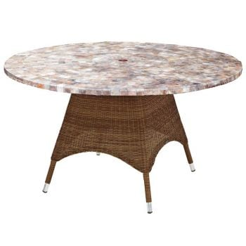 San Marino Mosiac Top Table 1.2m & San Marino Ovo 4 Chair With Cushion