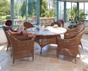 San Marino Mosiac Top Table & Ovo 6 Chairs With Cushions