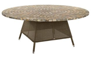 Alexander Rose San Marino Rattan Table with Mosaic Marble Tabletop - 1.8m