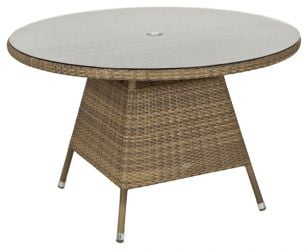 Alexander Rose Chichester Rattan Table with Glass Tabletop - 1.2m