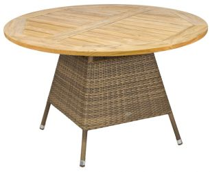 Alexander Rose Chichester Rattan Table with Teak Tabletop - 1.2m
