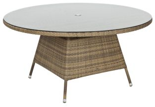 Alexander Rose Chichester Rattan Table with Glass Tabletop - 1.5m