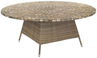 Alexander Rose Chichester Rattan Table with Marble Tabletop - 1.8m