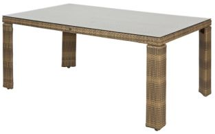 Alexander Rose Chichester Rattan Table with Glass Tabletop - 1.6m x 1m