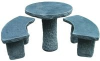 Verona Granite Table and 2 Bench Set