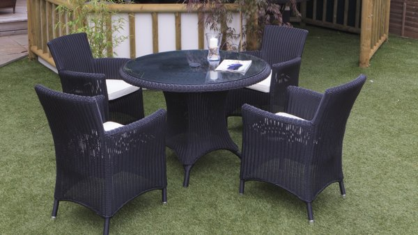 "Cozy Bay ""Hawaii"" Black Core Rattan 4 Seater Dining Set"
