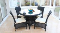 "Cozy Bay ""Barcelona"" Black Core Rattan 4 Seater Dining Set"