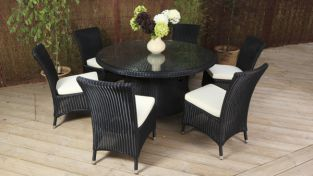 "Cozy Bay ""Barcelona"" Black Core Rattan 6 Seater Dining Set"