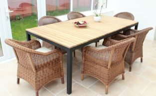 "Cozy Bay ""Sicilia"" Teak 6 Seater Java Honey Rattan Dining Set"