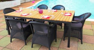 "Cozy Bay ""Sicilia"" Teak 6 Seater Black Core Rattan Dining Set"