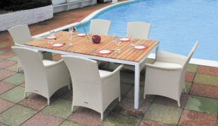 "Cozy Bay ""Panama"" Teak 6 Seater White Rock Rattan Dining Set"