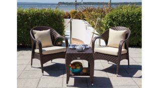 "Cozy Bay ""Havana"" Cappuccino Rattan Tea for Two Set"