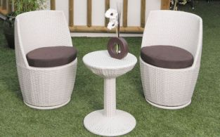 "Cozy Bay ""Provence"" White Rock Rattan Tea for Two Set"