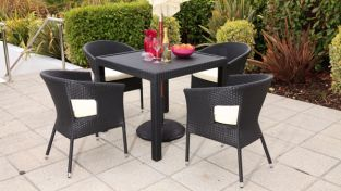 "Cozy Bay ""Phuket"" Black Line Rattan 4 Seater Bistro Set"