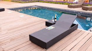 "Cozy Bay ""Marbella"" Black Line Rattan Sun Lounger with Cushion and Side Table"