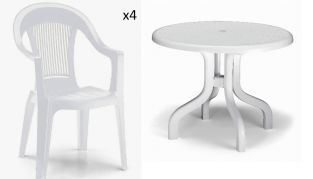 4 Seater Round Ribalto Set - White