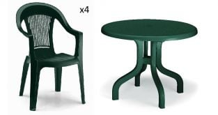 4 Seater Round Ribalto Set - Forest Green