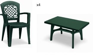 4 Seater Rettango Set - Forest Green