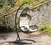 Curve Hanging Steel and Rattan Garden Chair