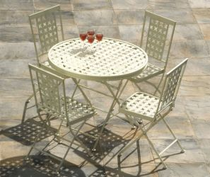 Kent White Cast Iron Foldable 4 Seater Dining Set