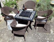 Compact Miranda Fire Pit Table with 4 Woburn Chairs