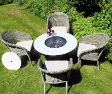 Low Tudela Fire Pit Table with 4 Arundel Chairs