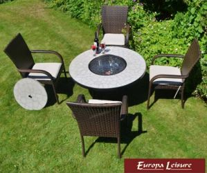 Tall Tudela Fire Pit Table with 4 Castello Chairs